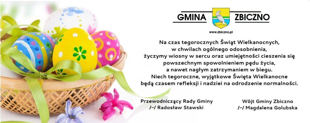 życzenia wielkanocne od wójt Gminy Zbiczno Magdalena Golubskiej i przewodniczącego rady gminy Radosława Stawskiego