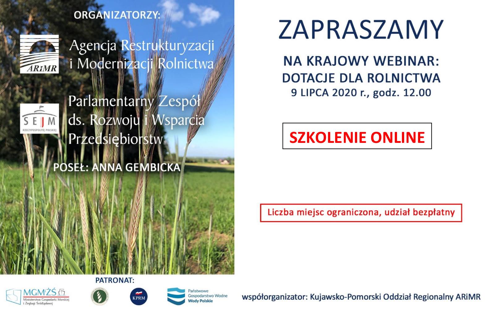 webinar dotacje dla rolnictwa