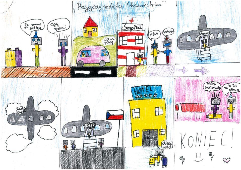"""Rysowany kredkami komiks zatytułowany """"Przygody robota Skalamarka"""" składa się zdziesięciu kadrów. Wpierwszym kadrze wpomieszczeniu są dwa roboty. Pierwszy wniebieskiej czapce iżółto-zielonym ubraniu mówi: """"Pa, mamo, ja już lecę"""". Drugi robot zestojącymi włosami ifioletowo-szarym ubraniu zalewa się łzami imówi: """"Będę tęsknić"""". Napodłodze stoją dwie walizki: fioletowa iuśmiechnięta żółta. Wdrugim kadrze natle niebieskiego nieba nawzgórzu stoi żółty dom zczerwonym dachem. Napierwszym planie samochód. Zakierownicą siedzi robot wczapce imówi: """"Dobra, jadę"""". Natylnych siedzeniach leżą walizki. Wtrzecim kadrze robot wczapce zbliża się dopomalowanego wbiało czerwone pasy prostokątnego budynku. Nadachu czerwony krzyż inapis: """"Szpital"""". Wczwartym kadrze wpomieszczeniu są dwa roboty. Dorobota wczapce podchodzi drugi wczepku zczerwonym krzyżem. Trzyma biały przedmiot. Robot wczapce mówi: """"Ała"""". Drugi robot mówi: """"Spokojnie!"""". Wpiątym kadrze płyta lotniska, naktórejstoi szary samolot. Naschodach prowadzących dowejścia stoi robot wczapce imówi: """"wsiadam"""". Wszóstym kadrze samolot leci wśród chmur. Woknach samolotu widać roboty. Robot wczapce mówi: """"Ładne widoki"""". Wsiódmym kadrze lotnisko, poprawej stronie czeska flaga. Napłycie lotniska stoją trzy roboty. Robot wczapce naschodach samolotu mówi: """"Witajcie, Czechy"""". Wósmym kadrze prostokątny żółty budynek, nadktórymwidnieje niebieski szyld znapisałem """"Hotel"""" ipięcioma gwiazdkami. Dohotelu zbliża się robot wczapce. Ciągnie walizki imówi: """"To ten hotel"""". Wdziewiątym kadrze różowy pokój hotelowy złóżkiem. Wpokoju są dwa roboty. Pierwszy torobot-mama zpierwszego kadru. Uśmiecha się imówi: """"Witaj, Skalmarku"""". Robot wczapce pyta zdziwiony: """"Co ty tu robisz?"""". Wdziesiątym kadrze tekst: """"KONIEC!"""" orazdwa kwiatki, czerwone serce iuśmiechnięta emotikonka."""