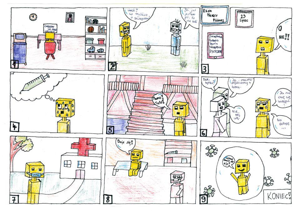 """Rysowany kredkami komiks składa się zdziewięciu kadrów. Wpierwszym pokój młodego robota. Są tu łóżko, zegar, fotografia iregał. Naregale piłki, książki, pudła isamochody. Przy biurku przedmonitorem komputera tyłem doczytelnika siedzi żółty robot. Namonitorze napis: """"Chrońmy się przedwirusem"""". Wdrugim kadrze natrawie stoją roboty żółty ibłękitny. Oba mają ochronne prześwitujące maseczki. Żółty ma wykrzywione smutno usta imówi: """"Cześć! Co myślisz oszczepieniu?"""" Uśmiechnięty niebieski odpowiada: """"Ja już jestem po. Tonieboli"""". , Wtrzecim kadrze wrogu tekst: """"Kilka miesięcy później"""". Naścianie kalendarz, nanim data 23 lipca. Nieco niżej prostokątny ekran, naktórymwyświetla się: """"Szczepionka gotowa. Termin szczepienia 25.07.2021"""". Żółty robot, widząc napis nawyświetlaczu, wykrzykuje: """"O nie!!"""". Wczwartym kadrze robot wyobraża sobie strzykawkę. Znerwów pojego głowie spływa pot.Wpiątym kadrze wtle schody prowadzące napiętro domu. Żółty robot jest przejęty iwoła: """"Mamo! Tato!"""" Wszóstym kadrze tło białe. Pojawiają się rodzice robota. Mama pyta: """"Tak, synku?"""" Żółty robot cały spocony odpowiada: """"Ja niechcę się szczepić!"""" Tata robota mówi: """"Ja imama pójdziemy ztobą"""". Mama dodaje"""": """"Nie bój się"""". Żółty robot mówi: """"No dobrze…"""". Wsiódmym kadrze przestraszony żółty robot wmaseczce idzie drogą prowadzącą dobiałego budynku zdużym czerwonym krzyżem nadachu. Wrogu drzewo. Wósmym kadrze pomieszczenie wszpitalu, wtle regał zesprzętem. Zmartwiony żółty robot siedzi naławce imówi: """"Boję się!"""". Pokorytarzu przechadza się jakiś robot wmaseczce. Wdziewiątym kadrze uśmiechnięty żółty robot stoi wzakreślonej owalną kreską barierze. Nazewnątrz bariery znajdują się wirusy, które niemogą jej pokonać. Robot trzyma ręce wgórze iwoła: """"Wirus mnie niezje!"""". Wrogu tekst: """"Koniec!""""."""
